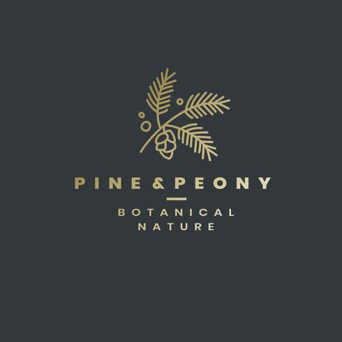 Vettore di disegno del logo di pino e peonia