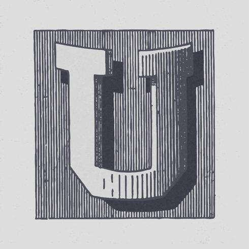 Huvudstämpel U vintage typografi stil