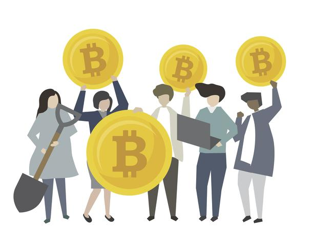 People holding cryptocurrency token coin mining icons