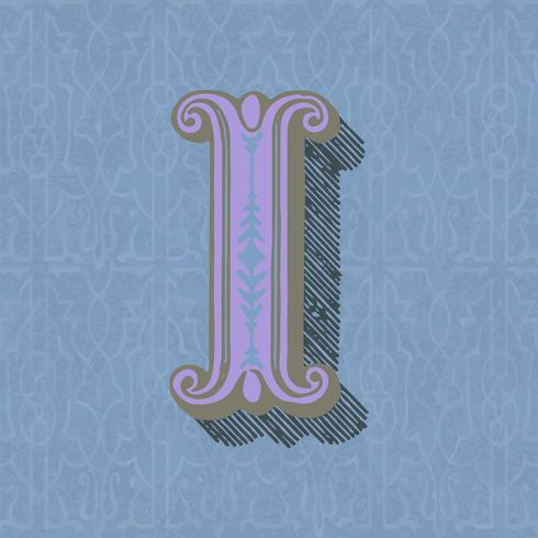 Capital letter I vintage typography style