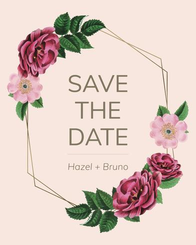 Salve a data com vetor de moldura floral