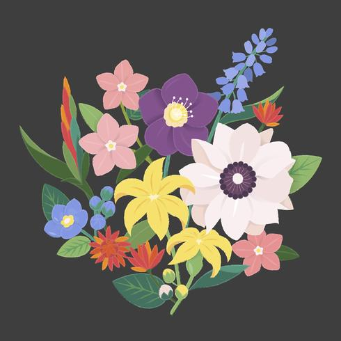 Illustrazione di un mazzo di fiori