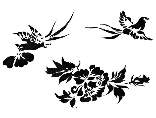 Ilustración vintage de faisán japonés con flores
