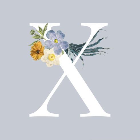 Buchstabe X mit Blüten