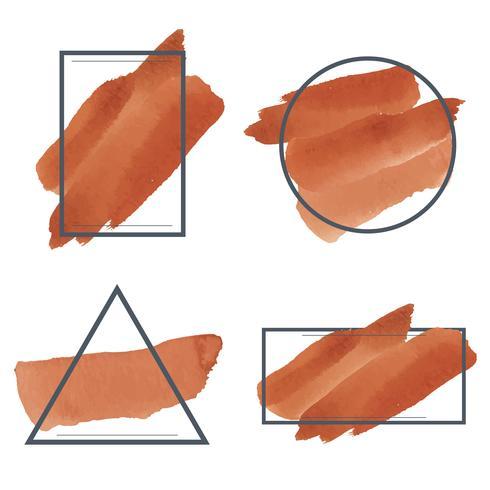 Set med orange vattenfärg banner design vektor