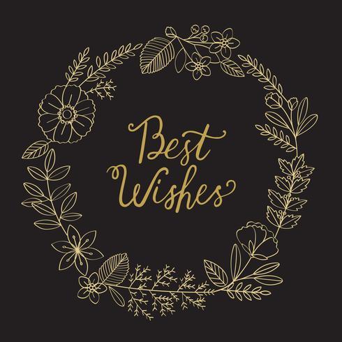 Ilustración de saludo palabra decorada con corona de flores