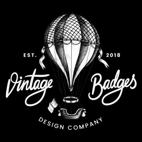 Vintage ballong logo design vektor