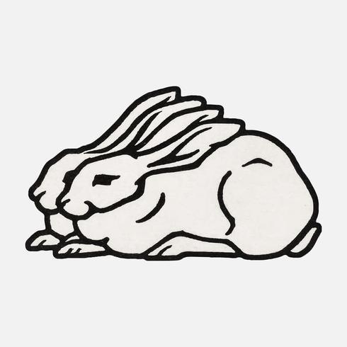 Två kaniner (1923-1924) av Julie de Graag (1877-1924). Original från Rijksmuseet. Digitalt förbättrad av rawpixel.