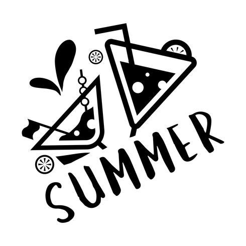 Verão e tipografia de férias ilustração vetor