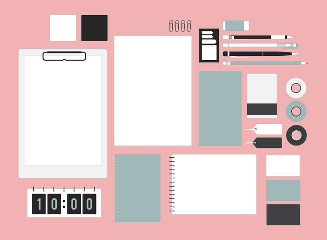 Set di elementi decorativi sull'illustrazione dell'area di lavoro