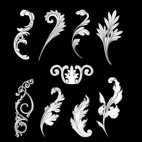 Witte barokke elementen vector set
