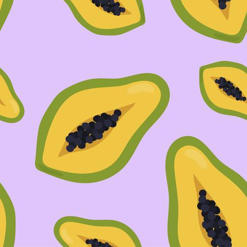 Colorful hand drawn papaya pattern