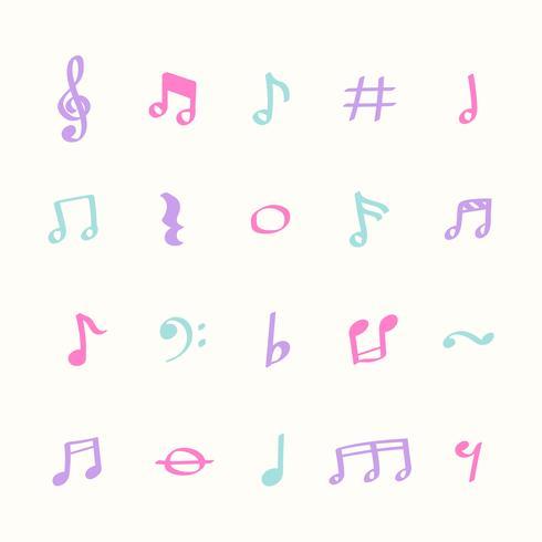 Ilustração conjunto de ícones de nota de música