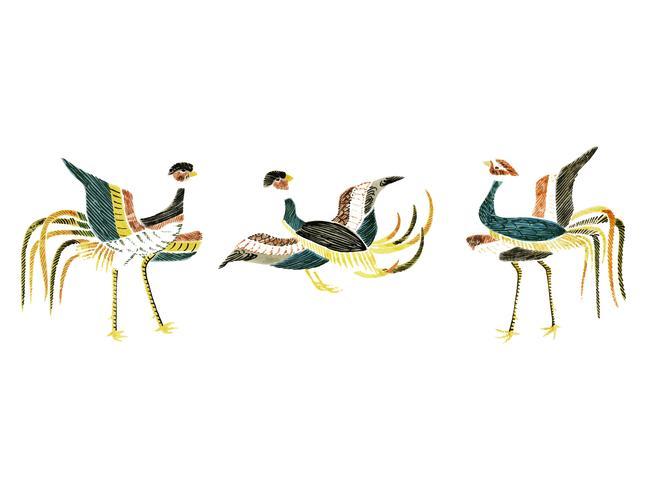 Ilustración vintage de compilación de grúas japonesas.