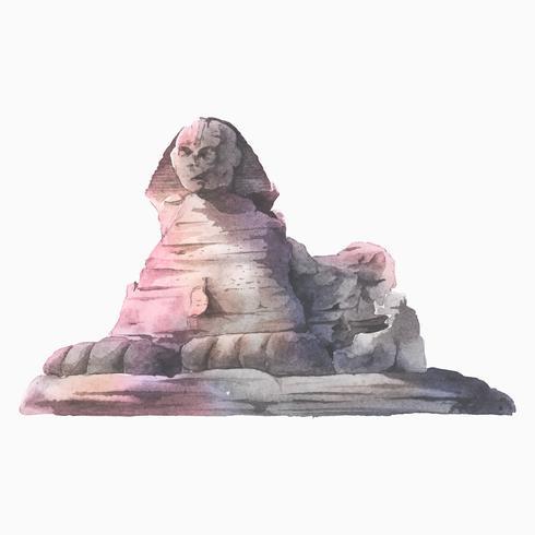 Esfinge egipcia frente a la pirámide de Giza ilustración acuarela