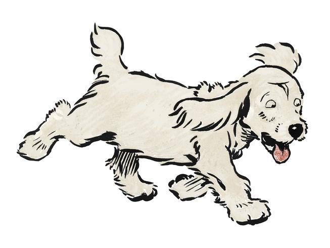 O livro branco do filhote de cachorro por Cecil Aldin (1910), um cão branco 'Rags' que corre emocionalmente afligido. Digitalmente aprimorada pelo rawpixel.