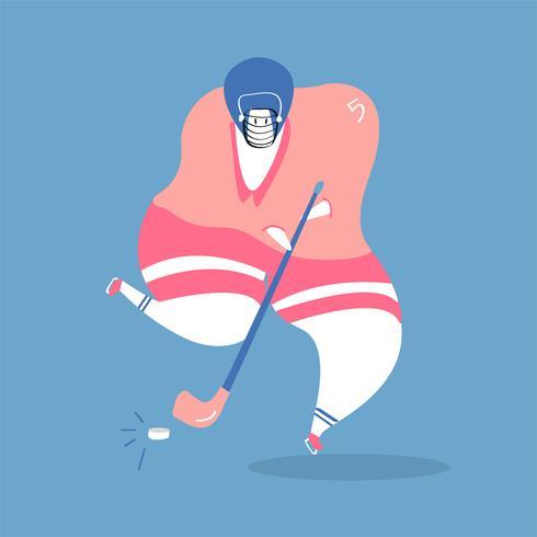 Karakterillustratie van een ijshockeyspeler