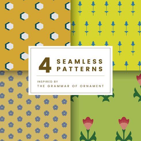 Ensemble de 4 motifs vintage inspirés de The Grammar of Ornament