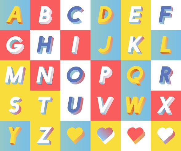 Satz von Alphabet Typografie