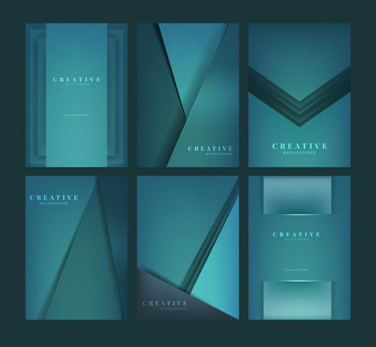 Set abstrakte kreative Hintergrunddesigne im Grün