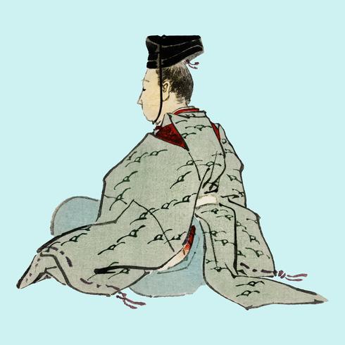 Emperador japonés antiguo por K? No Bairei (1844-1895). Mejorado digitalmente desde nuestra propia edición original de Bairei Gakan en 1913.
