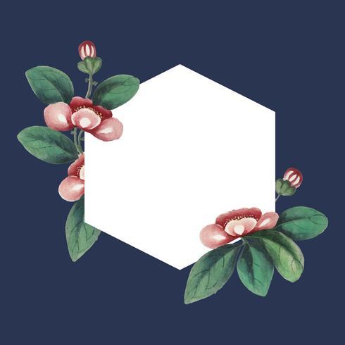 Kinesisk målning med blommor blank hexagon ram vektor
