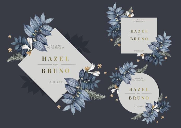 Conjunto de vectores de diseño de marco de boda floral