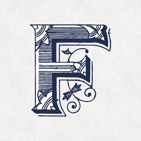 Mayúscula F estilo de tipografía vintage