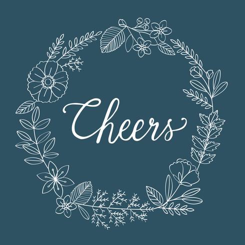 Illustration av hälsning ord dekorerad med blomkrans