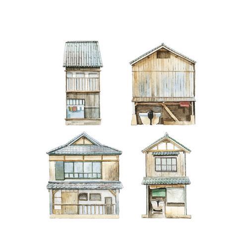 Funaya hus i Kyoto prefekturen Japan vektor