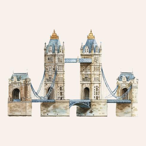 Die London Tower Bridge von Aquarell gemalt