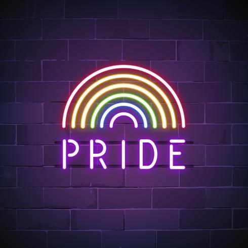 Vetor de sinal de néon de orgulho de arco-íris