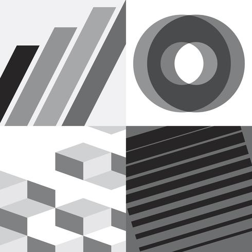 Conjunto de ilustración gráfica suiza monocromo
