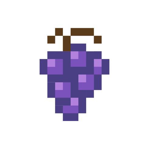 Grafica di frutta pixelata uva blu