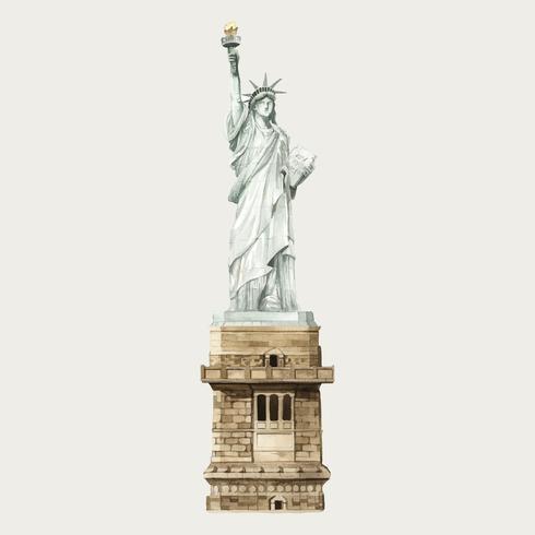 A, estátua liberdade, aquarela, ilustração