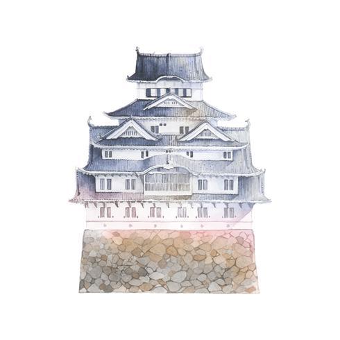 Castello di Himeji nel vettore del Giappone