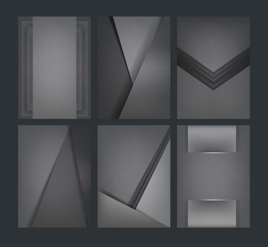Set of abstract background designs in dark gray