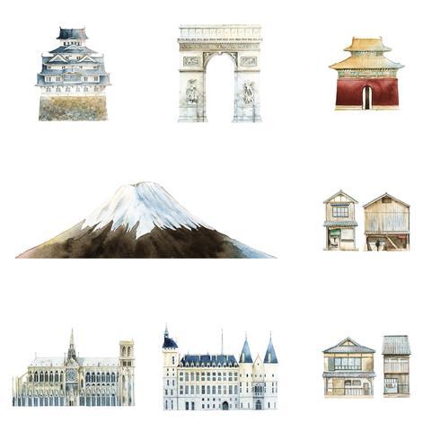 Set of famous landmark vectors