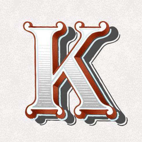 Vintage Typografieart des Großbuchstaben K