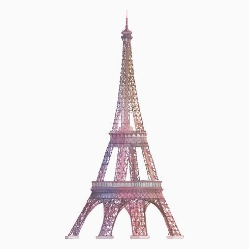 Eiffeltornet i Frankrike vattenfärg illustration