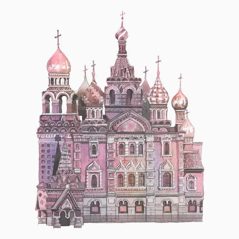 Saint Basil's Cathedral målad med akvarell