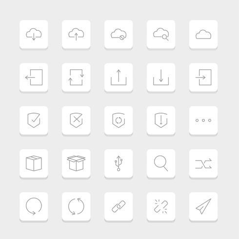 Vetor de ícones de armazenamento de dados do site