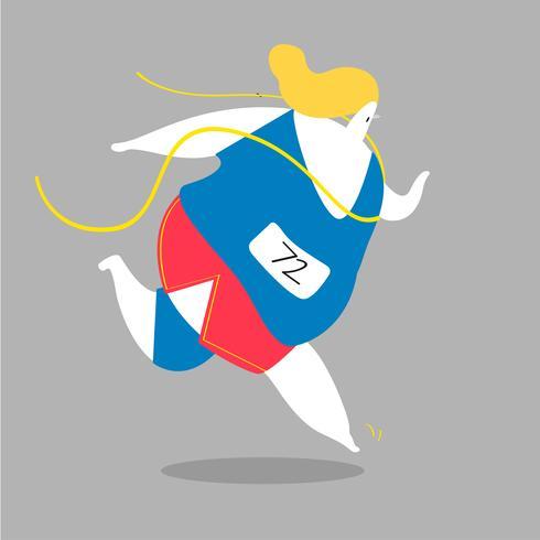 Female character running in the tracks illustration