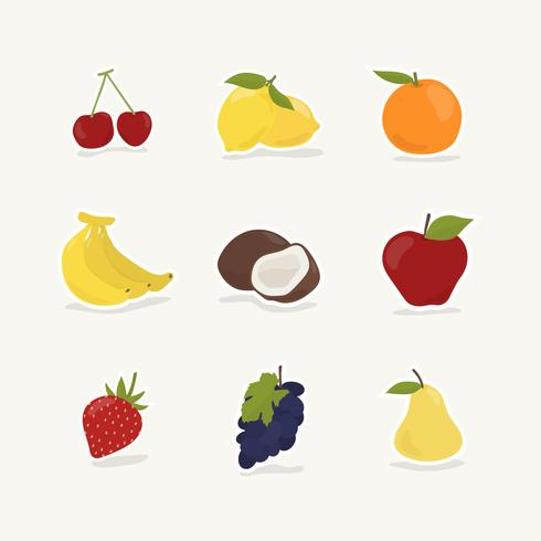 Samling av frukter och bär
