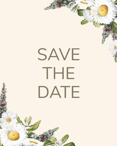 Salve a data vetor de cartão de maquete de convite de casamento
