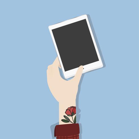 Ilustração de uma mão segurando um tablet