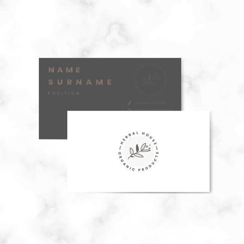 Vetor de cartão de nome frente e verso botânico