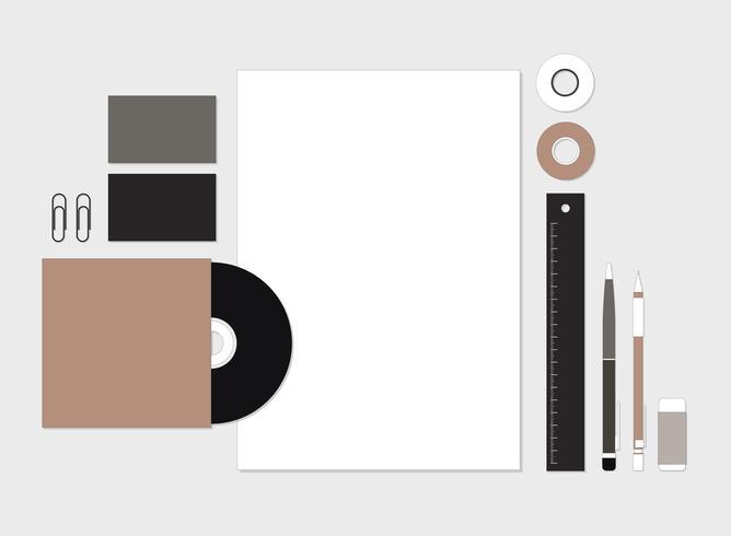 Conjunto de artigos de papelaria na ilustração do espaço de trabalho