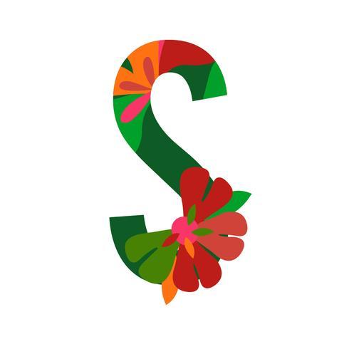 Floral patterned letters vector