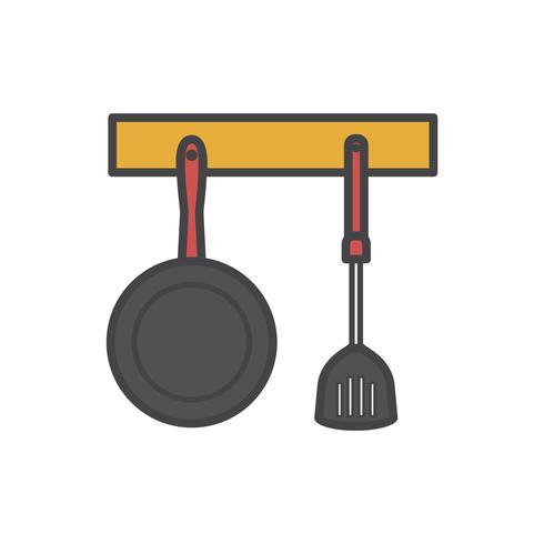Illustratie van gehangen pan en spatel